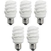 5 x TCP 11w E27 Edison Screw T3 Compact Spiral Daylight Light Bulb