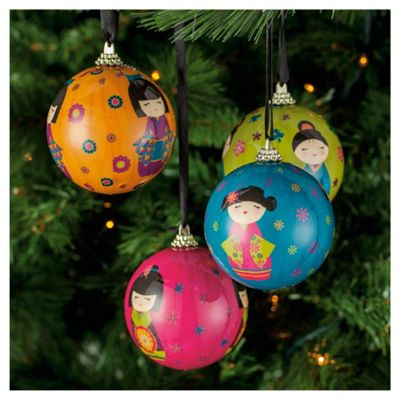 Festive Japanese Doll Decoupage Christmas Baubles, 4 Pack