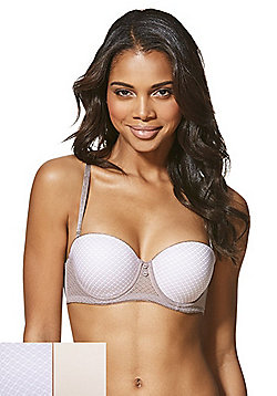 8ab49a02622ed F F 2 Pack of Plain and Mesh Overlay Multiway Bras - Nude Mocha