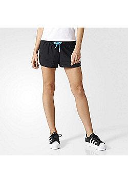 adidas Originals Womens Running-Style Slim Shorts - Black