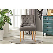 Fabric Accent Chair Dining Chair Scoop Back (Grey)