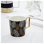 Fox & Ivy Black Gold Feather Mug