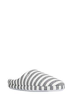 F&F Striped Mule Slippers - Grey & White