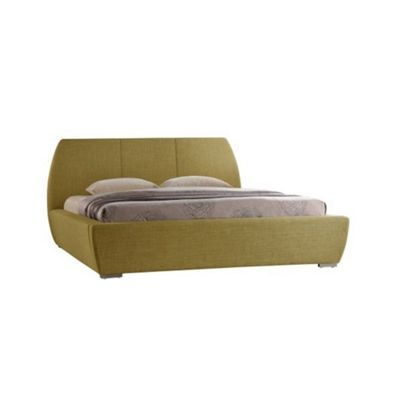 Tea Green Curved Design Contemporary Fabric Bed Frame - Double 4ft 6