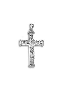 Jewelco London 9 Carat White Gold 25pts Diamond Cross