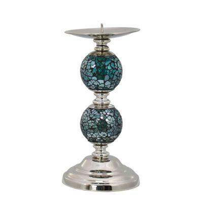 Aqua Mosaic Two Ball Candlestick