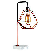 Talisman Industrial Style Table Lamp Black/Copper Finish Copper Shade