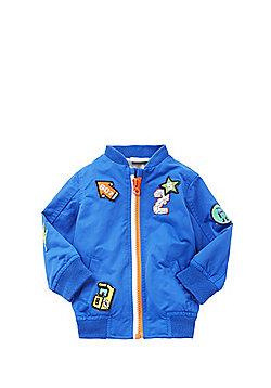 F&F Badge Embroidered Bomber Jacket - Blue