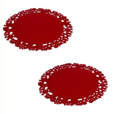 Two Large Red 45cm Stars & Snowflakes Felt Christmas Placemats