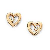 D for Diamond Girl's Gold Plated Open Heart Earrings