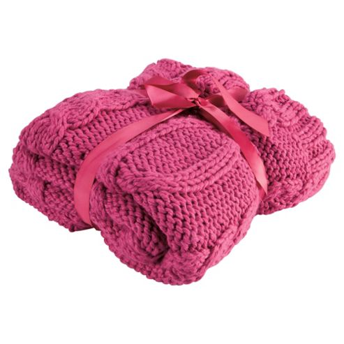F&F Home Cable Knit Throw, Pink