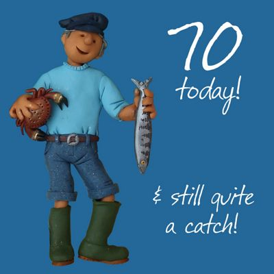 Holy Mackerel Happy 70th Birthday. Your 70, & Still Quite A Catch Greetings Card