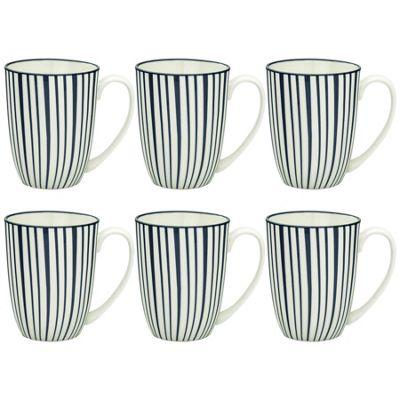 Stripe Design Porcelain Tea Coffee Mug Cups White / Blue 350ml x6