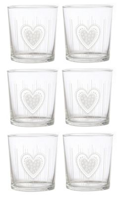 La Porcellana Bianca Babila Glass Etched Tumbler Heart Design Set of 6 350ml