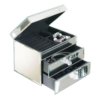 Buy ashleigh venetian mirrored jewellery box with 2 for Mirror jewellery box