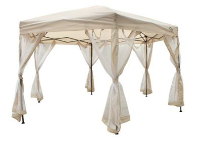 All Seasons Gazebo 2mx2mx2m Instant Pop Up Hexagonal gazebo With 6 Sides Panels, Leg Weight Bags, Carry Bag And 2 Windbars in Beige