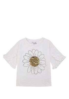 F&F Daisy Two-Way Sequin T-Shirt White 5-6 years