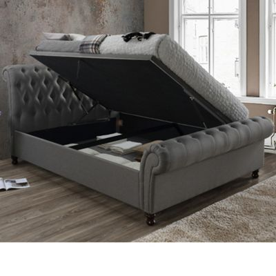 Happy Beds Castello Fabric Side Ottoman Storage Bed with Memory Foam Mattress - Grey - 4ft6 Double