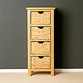 London Oak Tallboy with Baskets - Lacquer Finish