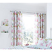 Catherine Lansfield Chrysanthemum Duckegg 66x72 Inch Eyelet Curtains