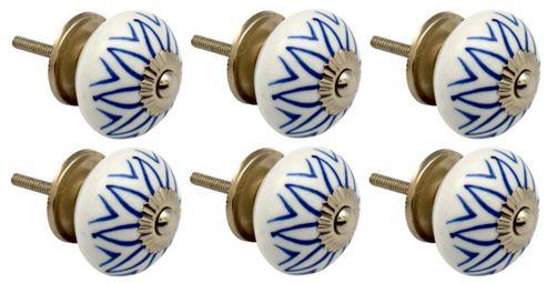 Ceramic Cupboard Drawer Knobs - Floral Design - Light Blue - Pack Of 6