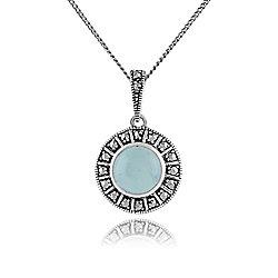 Gemondo Sterling Silver Art Deco Milky Aquamarine & Marcasite 45cm Necklace