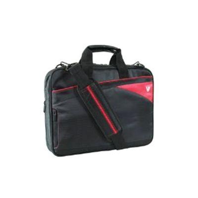 V7 Edge Slim Laptop Toploader (Black/Red) for 13.3 inch Ultrabooks, MacBooks and Slim-Line Notebooks