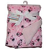 First Steps Ladybirds Supersoft Mink/Sherpa Reversible Baby Blanket