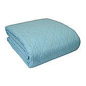 Homescapes Organic Cotton Scalloped Edge Reversible Bedspread Blue, 260 x 260 cm