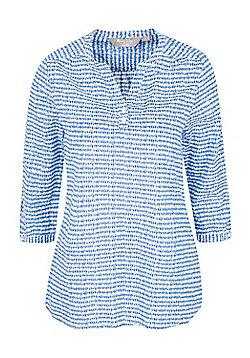 Mountain Warehouse Womens 100% CottonLightweight Petra Printed 3/4 Sleeve Shirt - Blue