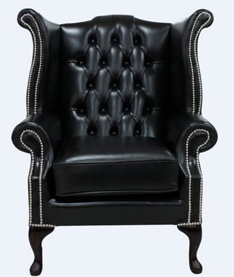 Chesterfield Queen Anne High Back Wing Chair Old English Black Leather