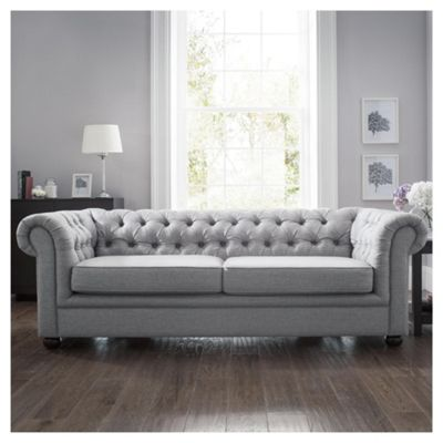Chesterfield Fabric Sofa Bed, Silver Linen