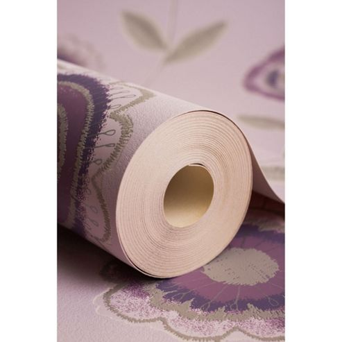 Superfresco Radiance Floral Purple/Cream Wallpaper