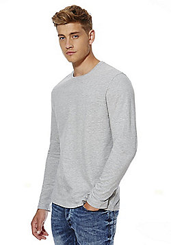 F&F Crew Neck Long Sleeve T-Shirt - Grey marl
