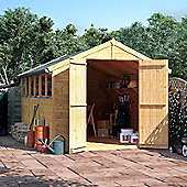 12x8 Tongue and Groove Wooden Garden Shed Double Door Windowed Apex Premium Roof Floor Felt - 12ftx8ft
