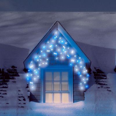 Snowtime 300 LED Icicle Lights - Blue / White