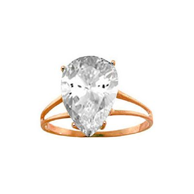 QP Jewellers 5.0ct White Topaz Pear Drop Ring in 14K Rose Gold - Size M 1/2