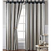 Grey Stripe Eyelet Curtains 54s - Montana