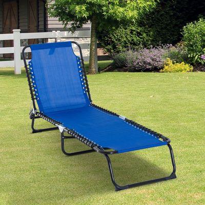 Outsunny Sun Lounger Reclining Garden Foldable 3 Position Adjustable - Blue