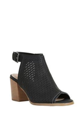 F&F Laser-Cut Peep Toe Heeled Sandals Black Adult 3