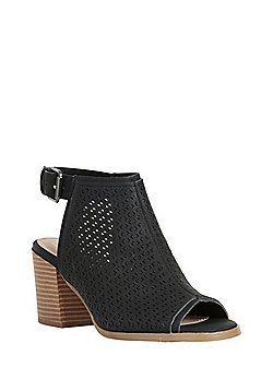 F&F Laser-Cut Peep Toe Heeled Sandals - Black