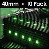 MiniSun Pack of 10 40mm Green LED Decking Lights