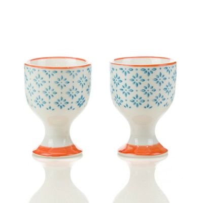 Nicola Spring Porcelain Breakfast Egg Cups in Blue / Orange Pattern Print - Pack of 2