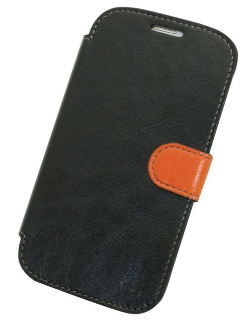 Tortoise™ Look Faux Leather Folio Case Samsung Galaxy SIII Black