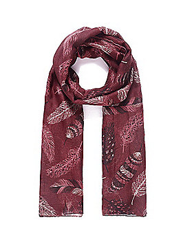 Cherry Black Feather Print Scarf