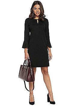 Wallis Petite Bell Sleeve Ponte Dress - Black