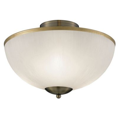 FLUSH ANTIQUE BRASS 3 LIGHT UPLIGHT-WHITE SHADE ANTIQUE BRASS RIM