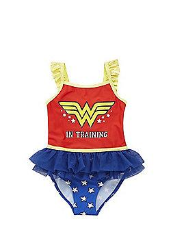 DC Comics Wonder Woman in Training Swimsuit - Red & Multi