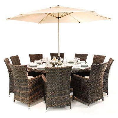 Maze Rattan - LA 10 Seat Dining Set - 1.8m Round - Brown