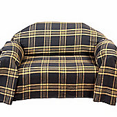 Homescapes Grey & Yellow Tartan Check Sofa and Bed Throw, 150 x 200 cm